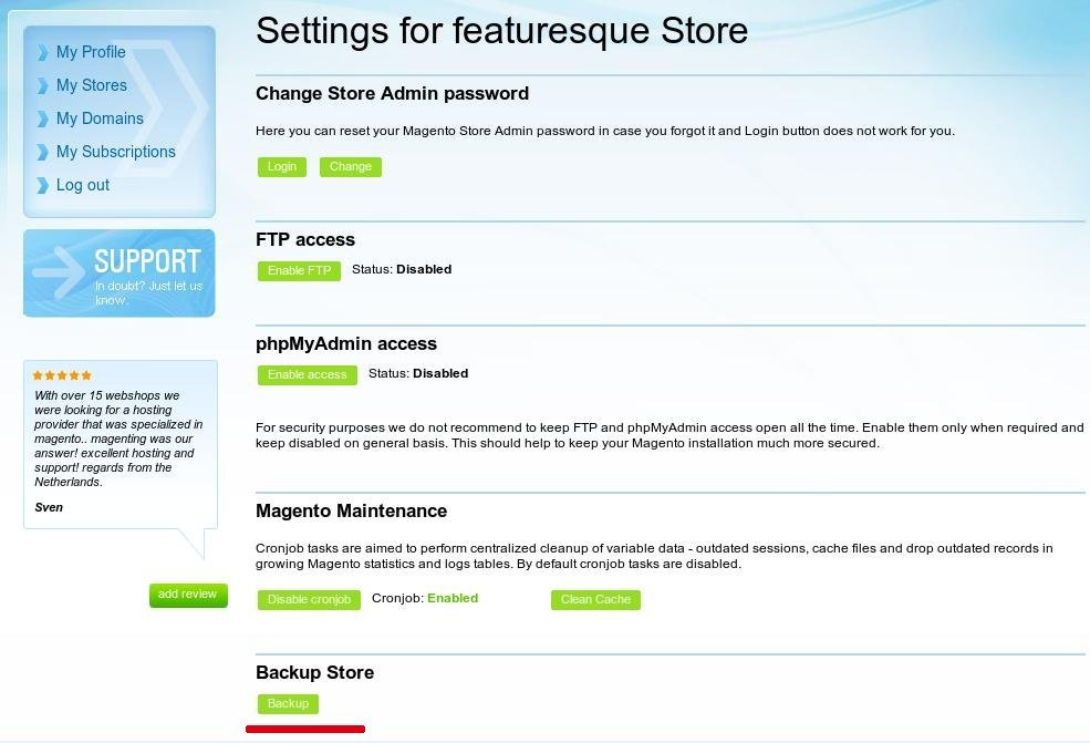 Backup Magento store in Magenting