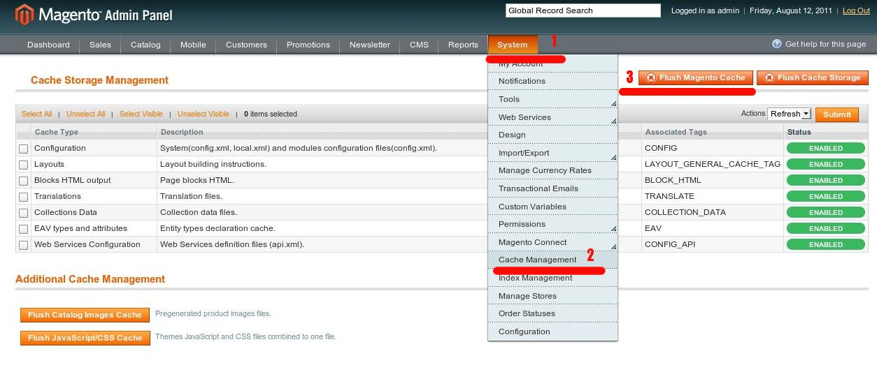 How do I clear cached Magento data